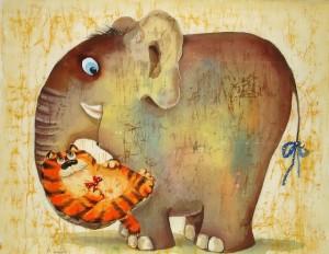 кот рыжий и слон