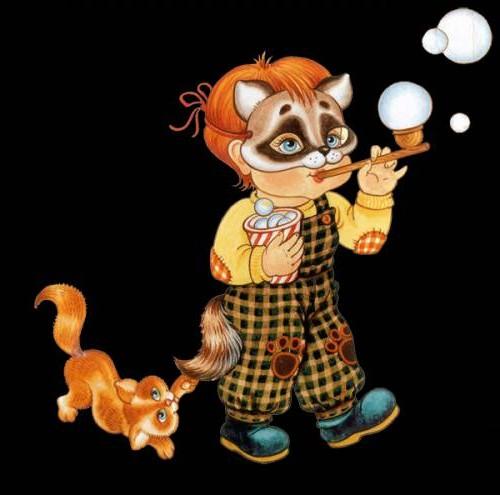 рыжий котенок и мальчик