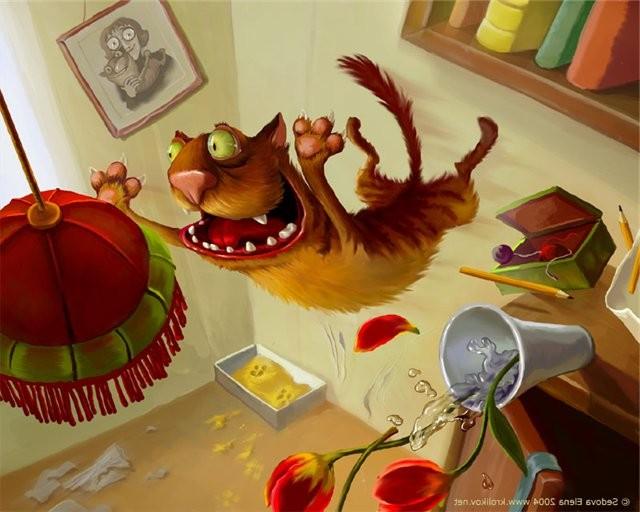 кот рыжий нападает на люстру