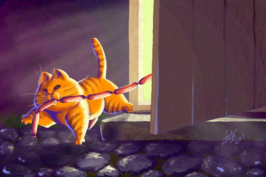 рыжий-кот-уносит-колбасу-из-дома