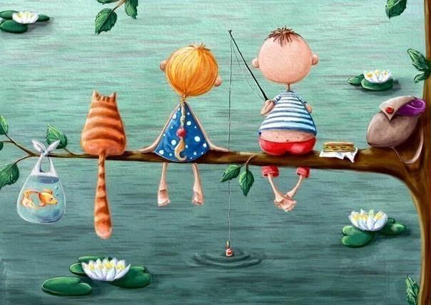 рыжий-кот-картинка-с-друзьями-на рыбалке