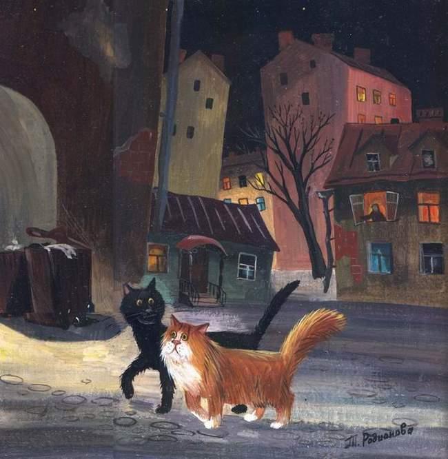 черный и рыжий коты
