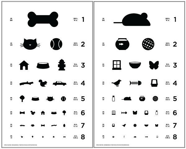 Таблицы для проверки зрения у кошек и собак