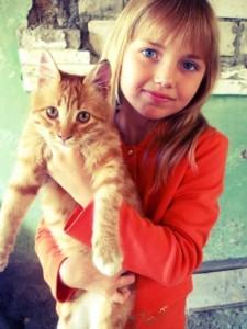 девушка с рыжим котом красивая