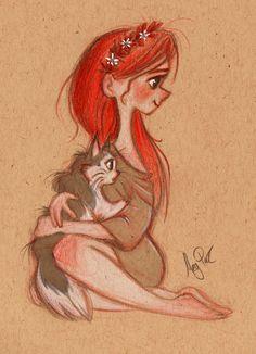 рисунок красивый девочка с кошкой на руках