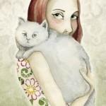 рисунок девочка с белым котом на руках