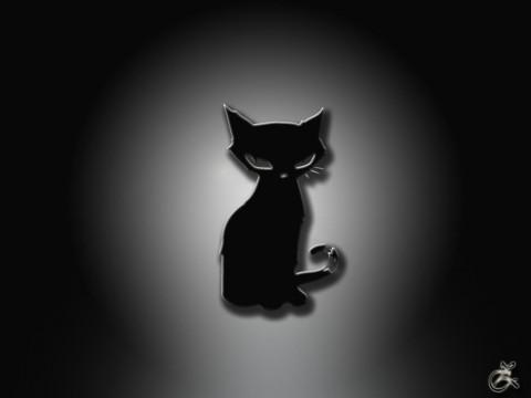 рисунок черный котенок суровый смотрит