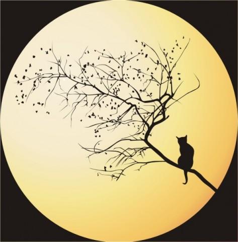 кошка на фоне луны красивый рисунок