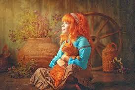 девочка с рыжим котом картинка красивая