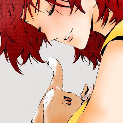 рисунок кот и девочка аниме