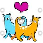 рисунок рыжий кот и голубая кошка любовь