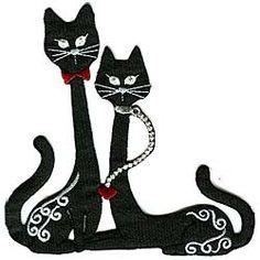 рисунок-кот-и-кошка-черные