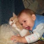 фото ребенок с котом рыжим